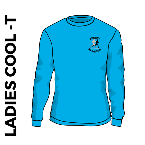 blue ladies LS cool T with printed club text on front