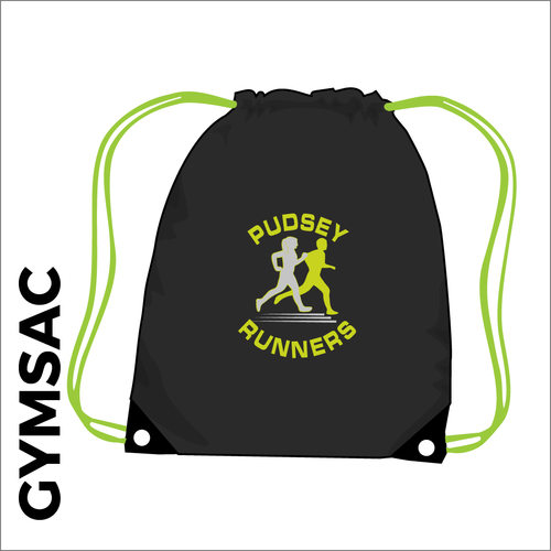 Black and lime Gymsac with club logo on the front