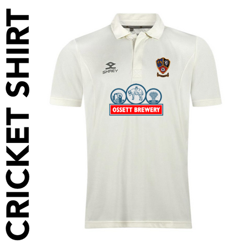 Ossett CC cricket shirt with embroidered club badge