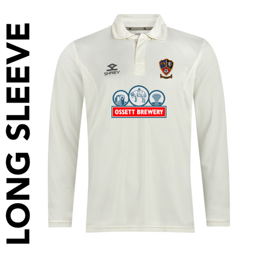 Ossett CC long sleeve cricket shirt with embroidered club badge