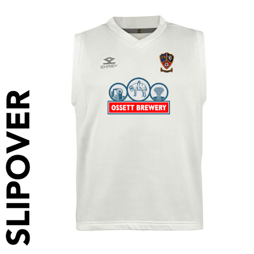 Ossett CC cricket slipover with embroidered club badge