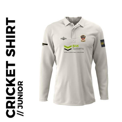 Ossett CC junior long sleeve cricket shirt with embroidered club badge