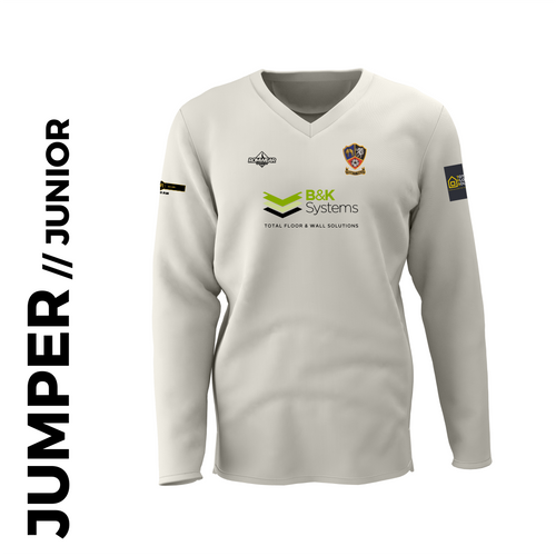 Ossett CC junior cricket jumper with embroidered club badge