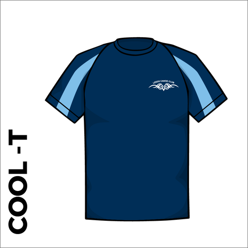 Navy cool T with printed club badge on front
