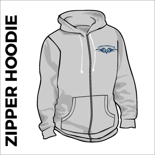 grey zipped hooded top front with embroidered club badge on left chest