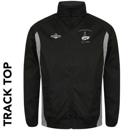 Langwith CC track top with club badge