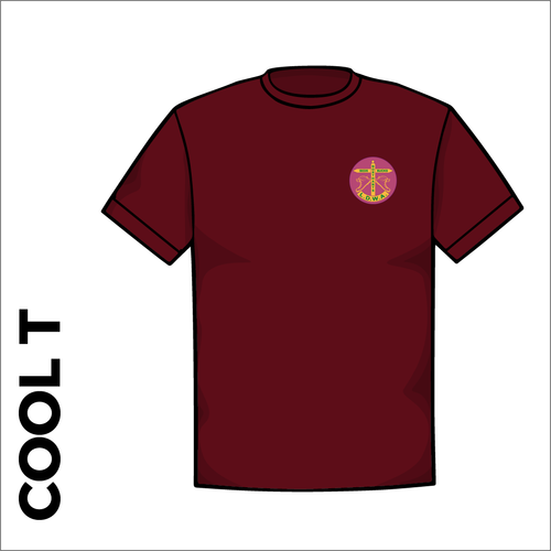 Maroon Cool-T, moisture wicking with embroidered BBN left chest badge