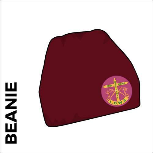 Maroon beanie with embroidered club crest on the front.