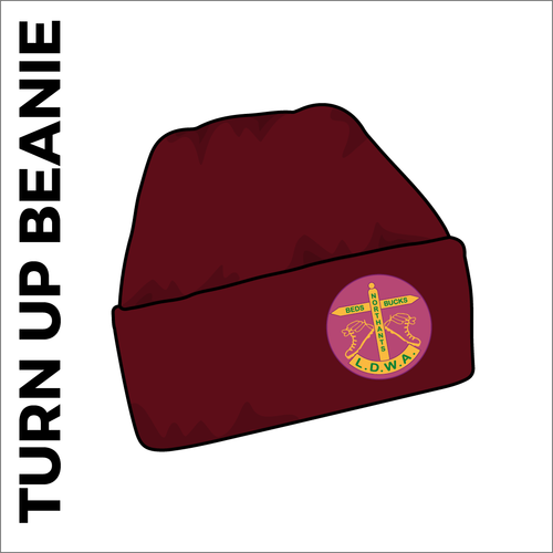 Maroon turn up beanie with embroidered club crest on the front.