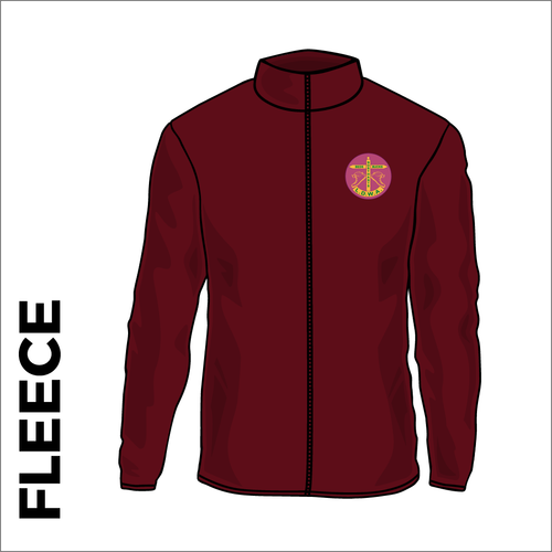 Maroon fleece front with embroidered BBN left chest badge