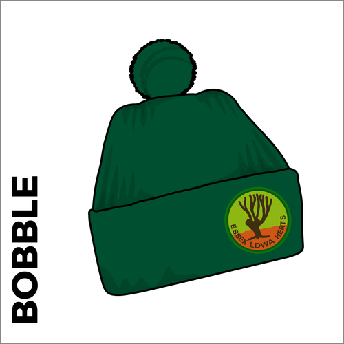 bottle green turn up bobble with embroidered club crest on the front.