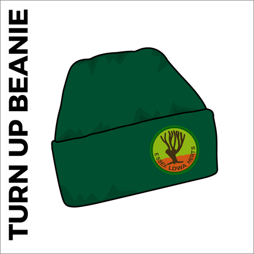bottle green turn up beanie with embroidered club crest on the front.