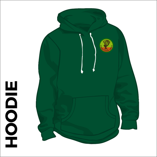 Bottle green hoody front with embroidered badge on left chest
