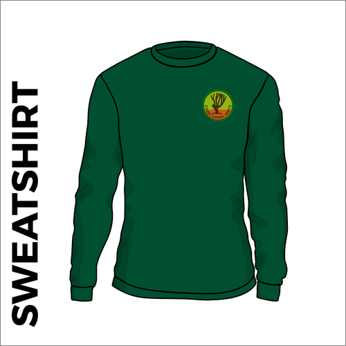 Bottle green sweater front with embroidered badge on left chest