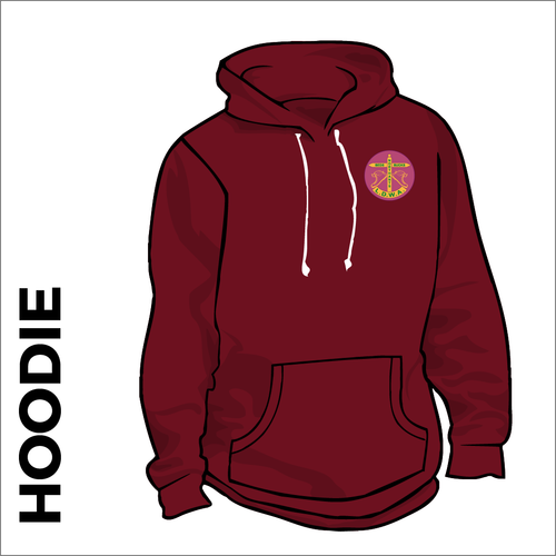 Burgundy hoody front with embroidered badge on left chest