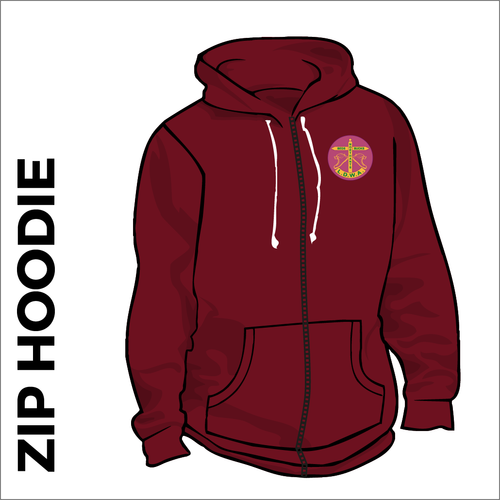 Burgundy zipped hoodie with embroidered logo on chest
