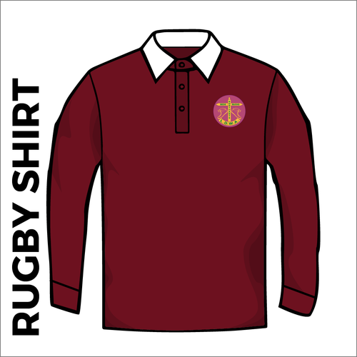 Rugby Shirt. Maroon colour cotton fabric jersey with badge, front image