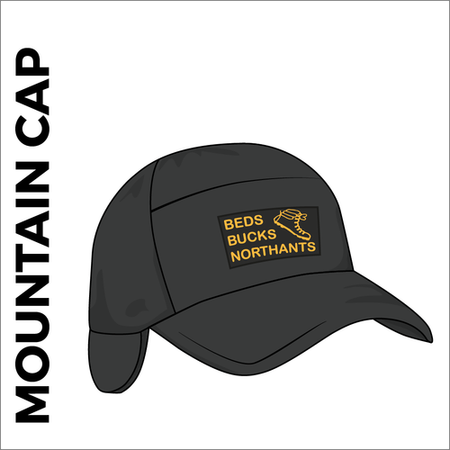 Mountain cap with heat applied club embroidered badge