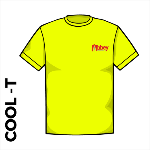 flo yellow Cool-T, moisture wicking with printed left chest badge