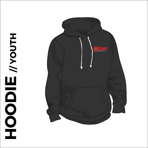 youth hoodie with embroidered logo on chest