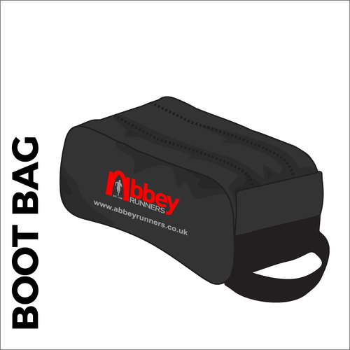 Abbey Runners black boot bag with printed club logo.