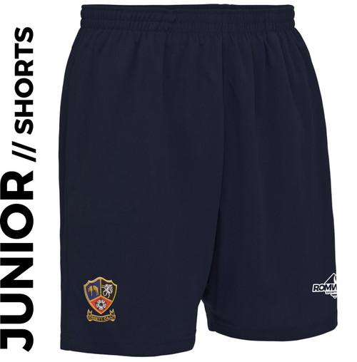 Ossett CC Junior Shorts Navy Blue & Club Badge Embroidered on right leg