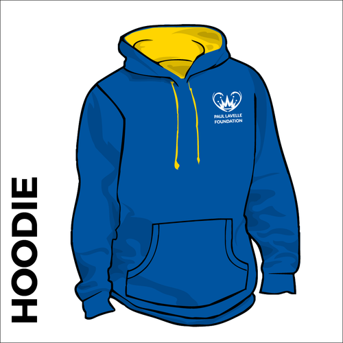 Varsity hooded top front with embroidered badge on left chest