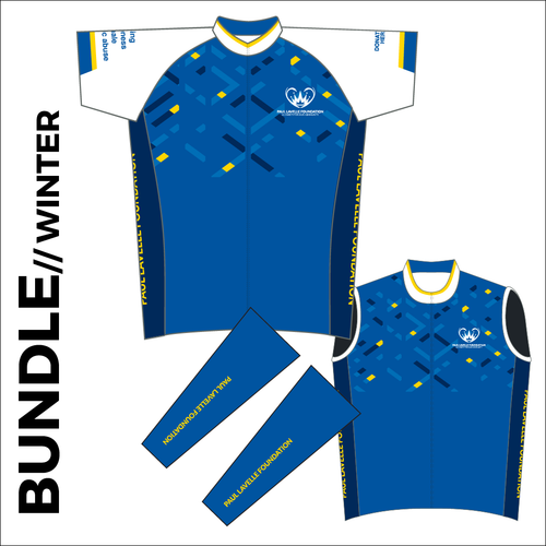 Winter club bundle kit. Full kit including cycle jersey, Roubaix cycle arm warmers and winter fleeced cycle gilet in the custom club design.