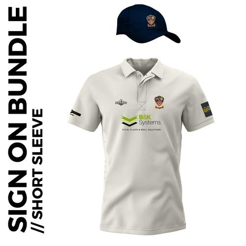 Short sleeve cricket shirt and cap signing on bundle