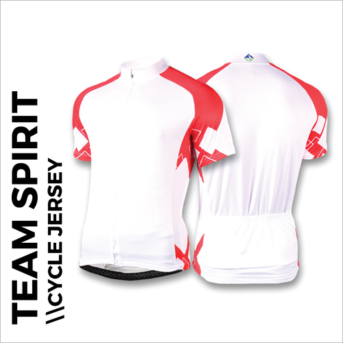 Team spirit red custom cycle jersey, showing front, back and sleeves plain white print areas for sublimation full colour printing. Quick 5-7 day turn around on custom printing.