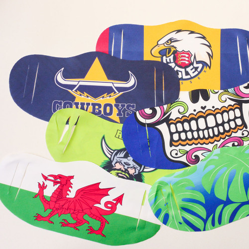 Custom full colour dye sublimation print on polyester quick drying face mask