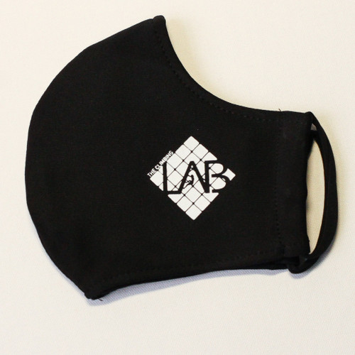 Custom Printed face mask showing small logo on a black shaped face mask