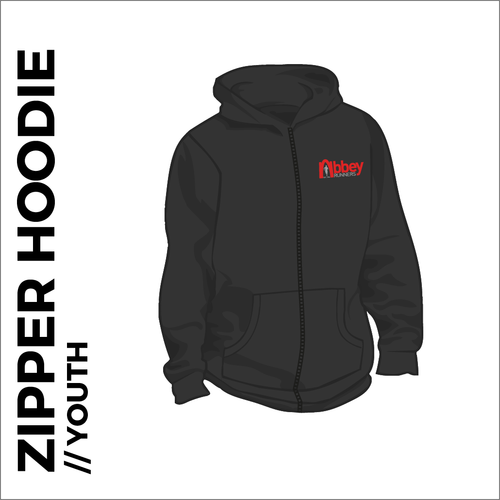 zipped youth hoodie with embroidered logo on chest
