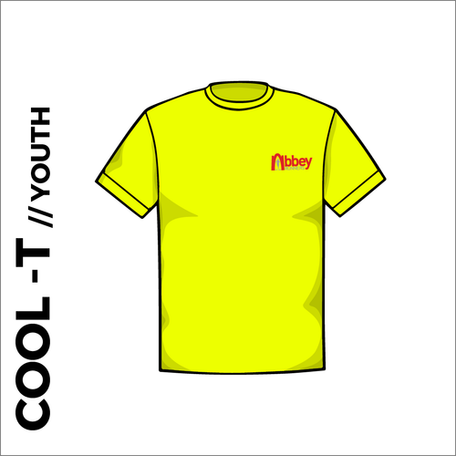flo yellow Youth Cool-T, moisture wicking with printed left chest badge