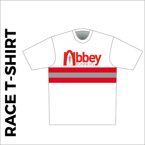 Short sleeve White Athletic T-shirt club design in full sublimation print. Front picture showing custom design