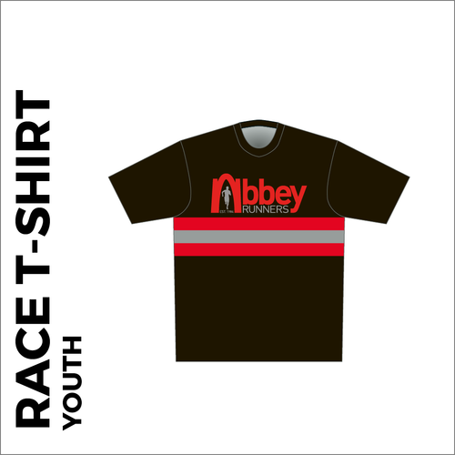 Short sleeve Youth Black Athletic T-shirt club design in full sublimation print. Front picture showing custom design