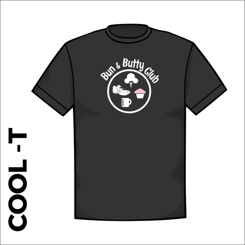 Black Cool-T, moisture wicking with printed left chest badge