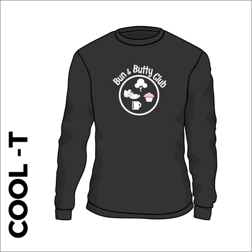 Long Sleeve black athletics Cool T-Shirt front image with printed club badge on chest