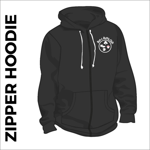 zipped hoodie with printed logo on chest