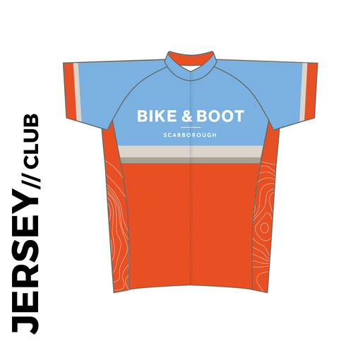 Bike and Boot Short sleeve custom cycle jersey club design in full sublimation print. Front picture showing full length hidden SBS zip, high collar for comfort fit and silicon gripper at hem.