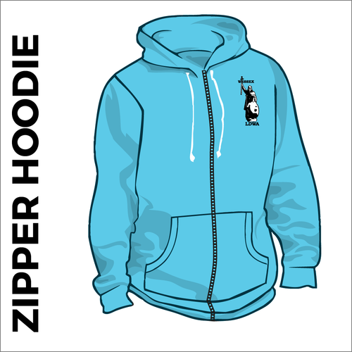 Sky blue zipped hoodie with embroidered logo on chest