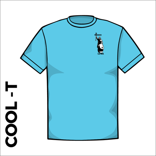 Sky Blue Cool-T, moisture wicking with embroidered left chest badge