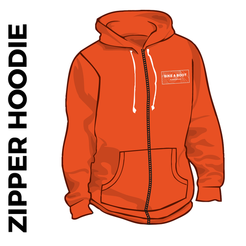 orange zipped hoodie with embroidered logo on chest