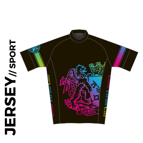 Short sleeve custom cycle jersey sport design in full sublimation print. Front picture showing full length hidden SBS zip, gripper cuffs and silicon gripper at hem.