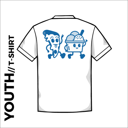 Front of Grumpy's official Youth White Cotton T-Shirt. printed artwork on centre back