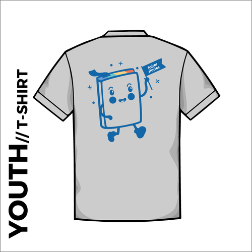 Back of Grumpy's story Youth Cotton T-Shirt. grey with printed artwork on centre back