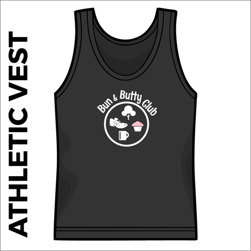 Bun and Butty Club athletics vest front image with printed club badge on chest