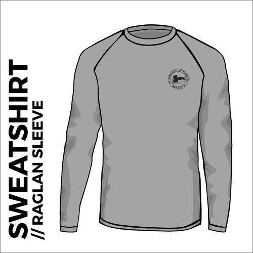 Heather Grey raglan sweatshirt with embroidered chest logo