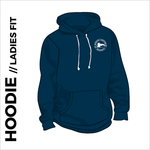 Navy Ladies hoodie with embroidered chest logo