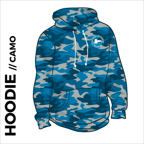 Blue Camo hoodie with embroidered chest logo